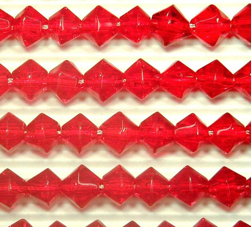 Red 8mm Glass Bicone - 4 Strand Pack