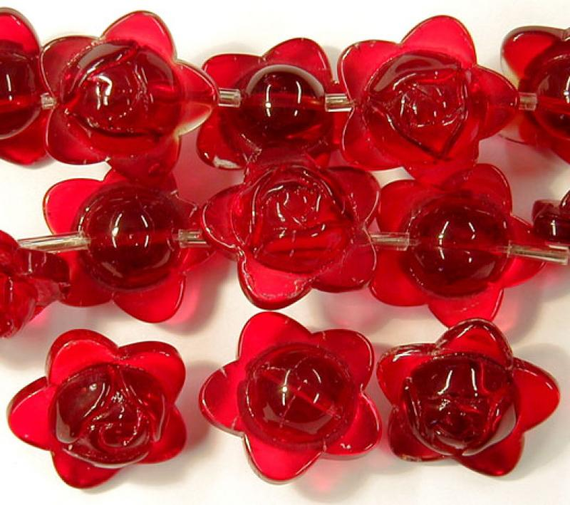 Red Star Rose Glass Button Flowers - 15mm