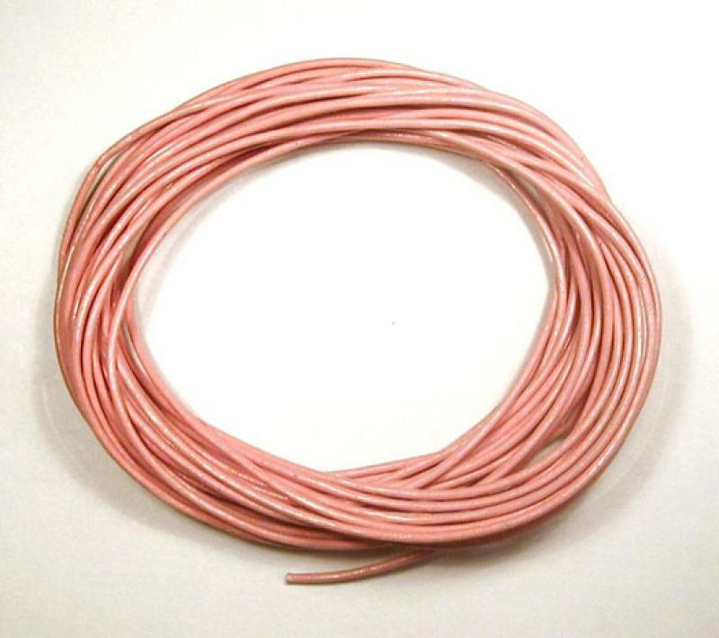 Baby Pink 1mm Round Leather Cord