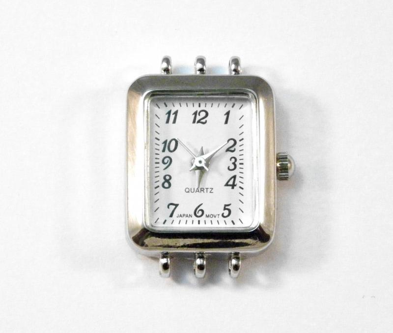Silver Plated 3 Strand Rectangle Watch Face