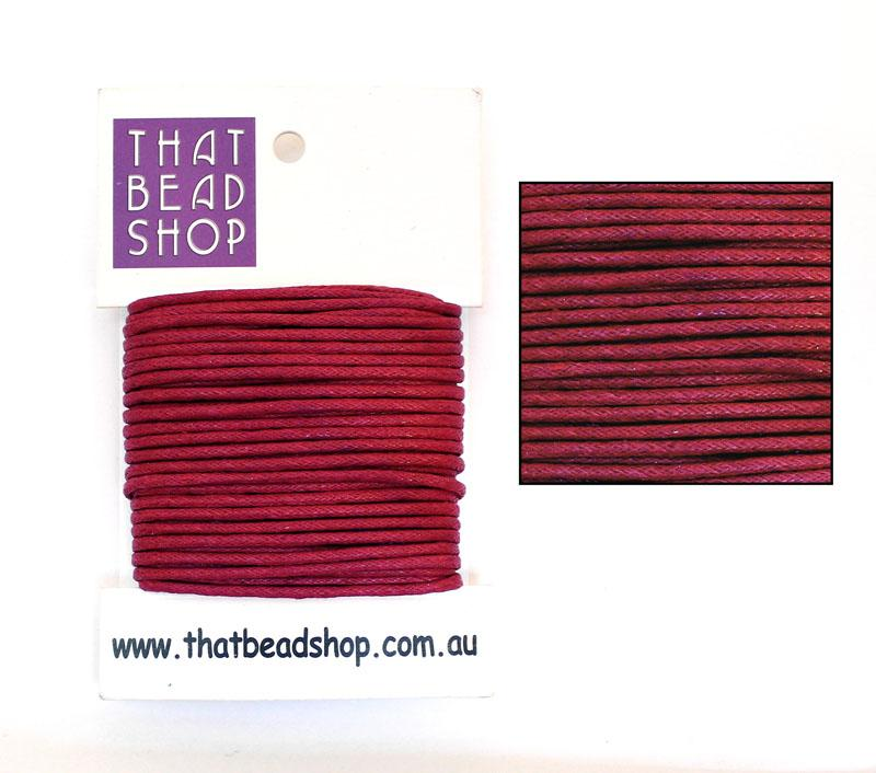 2mm Waxed Cotton Cord - Deep Red