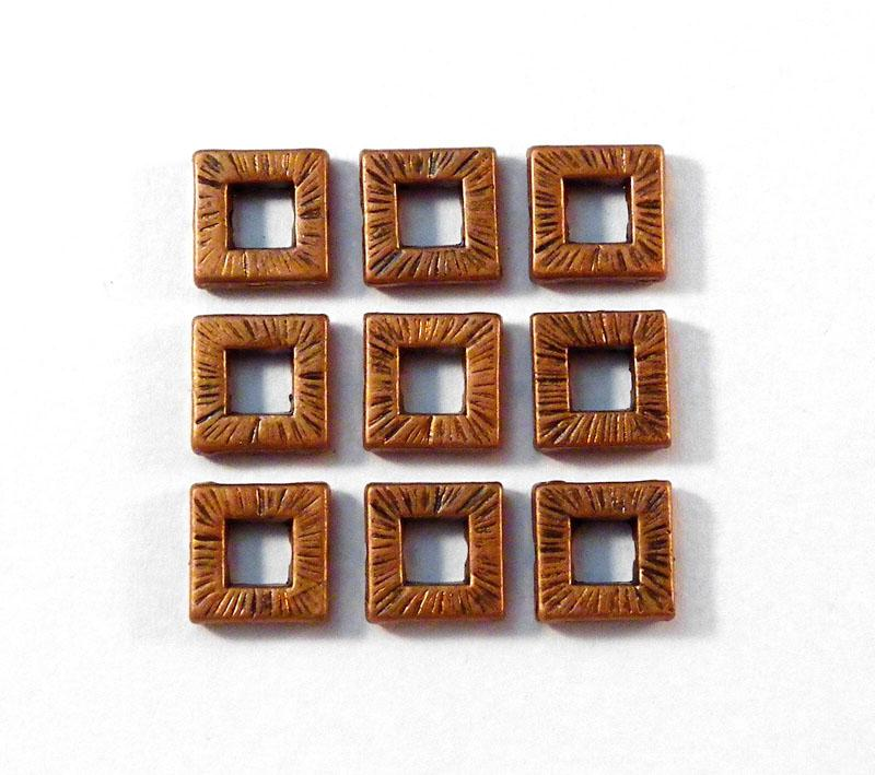 10mm Square Donut Metal Bead - Antique Red Copper