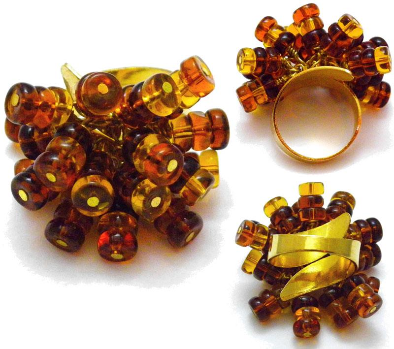 Topaz - Brown POM POM Rings