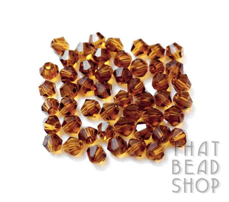 4mm Amber Brown Crystal Bicone