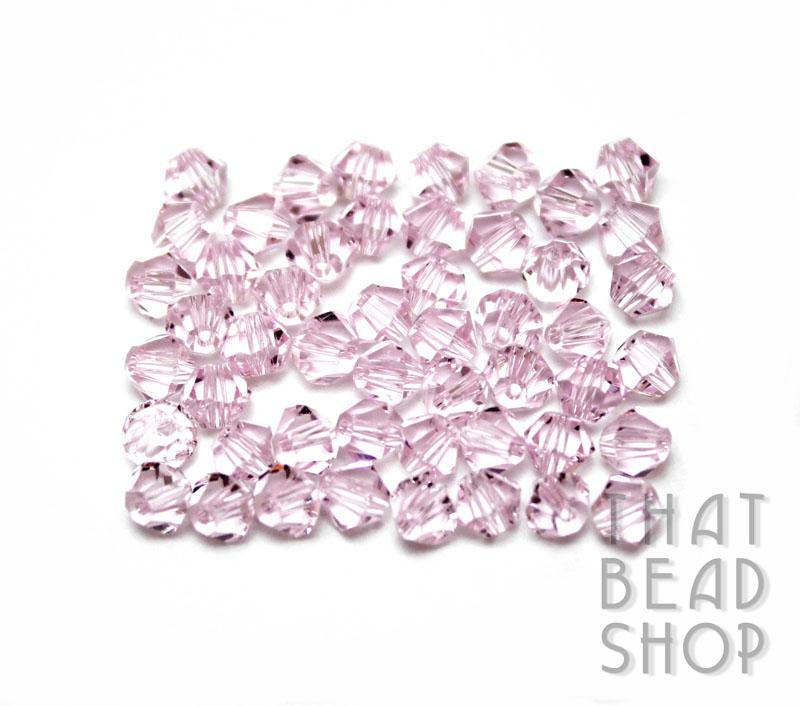 4mm Pink Crystal Bicone