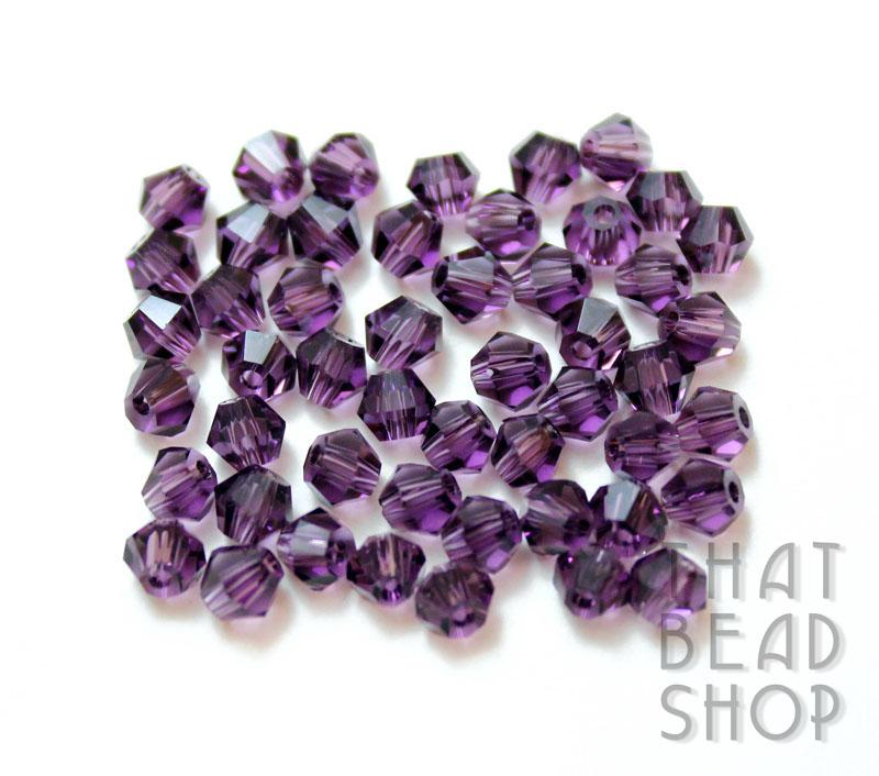 4mm Purple Crystal Bicone