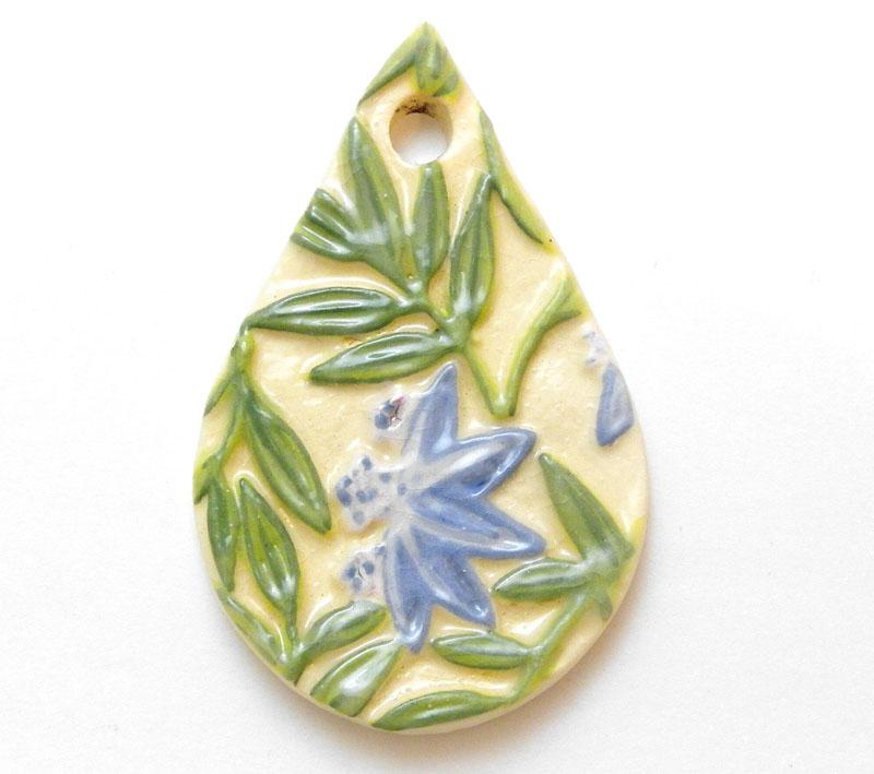 Cornflower Blue Lotus Drop Pendant - 5452
