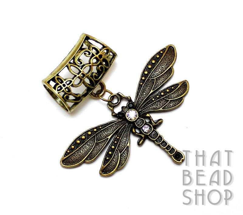 Antique Brass Dragonfly with Rhinestones Scarf Pendant