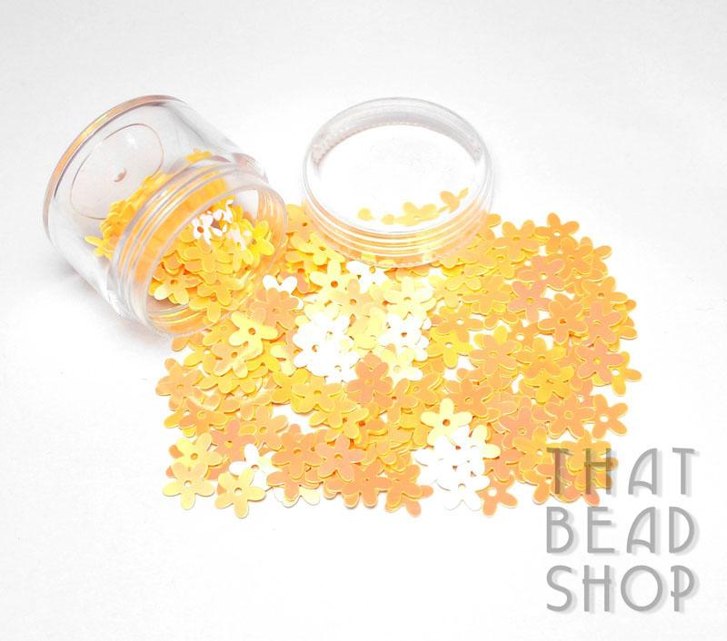 Yellow AB Flat Flower Sequins