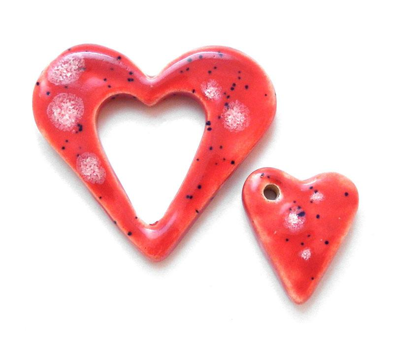 Speckled Coral Heart Pendant and Charm Set - 4328