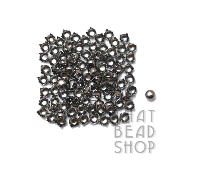 Gunmetal Black 4 Prong Domed Round Studs - 4mm