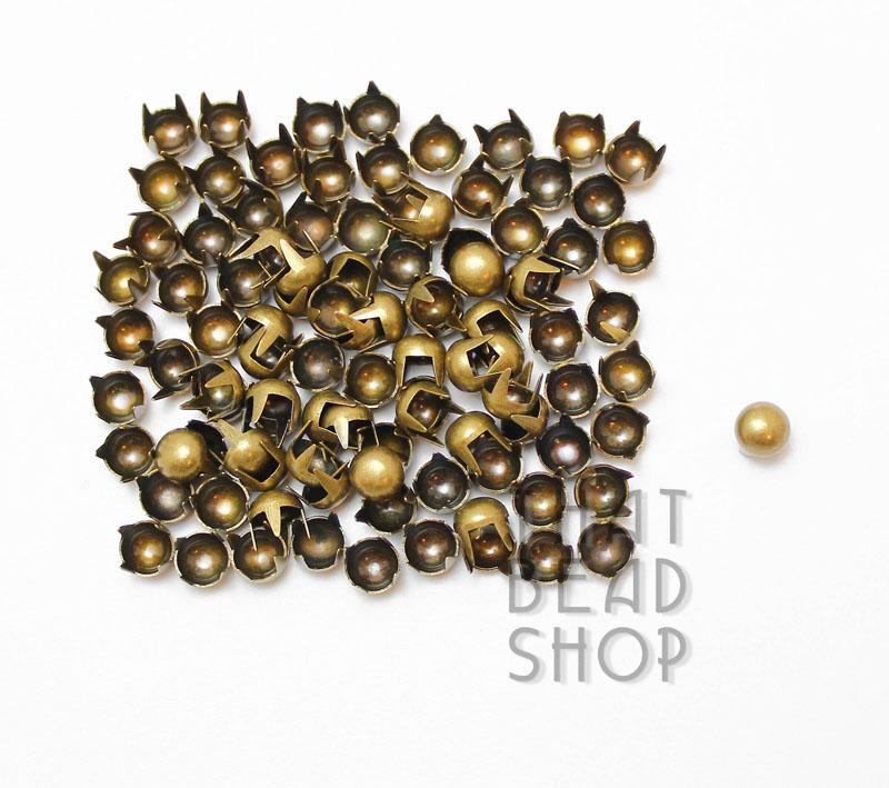 Antique Brass 4 Prong Domed Round Studs - 5mm