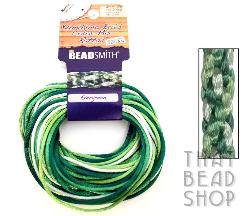 Kumihimo Braid 1mm Satin Rattail Colour Mix - Evergreen