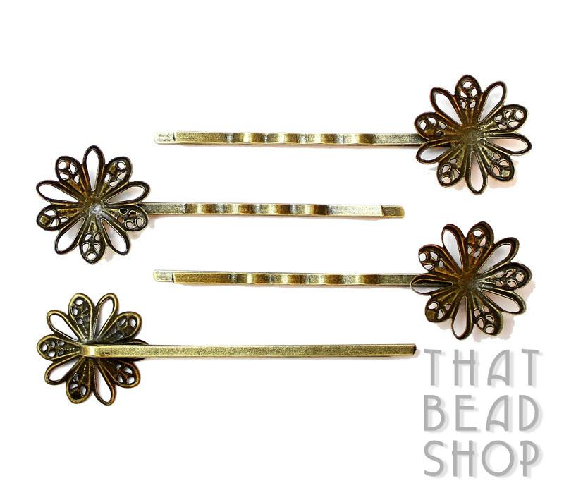 Antique Brass Filigree Daisy Hairpin