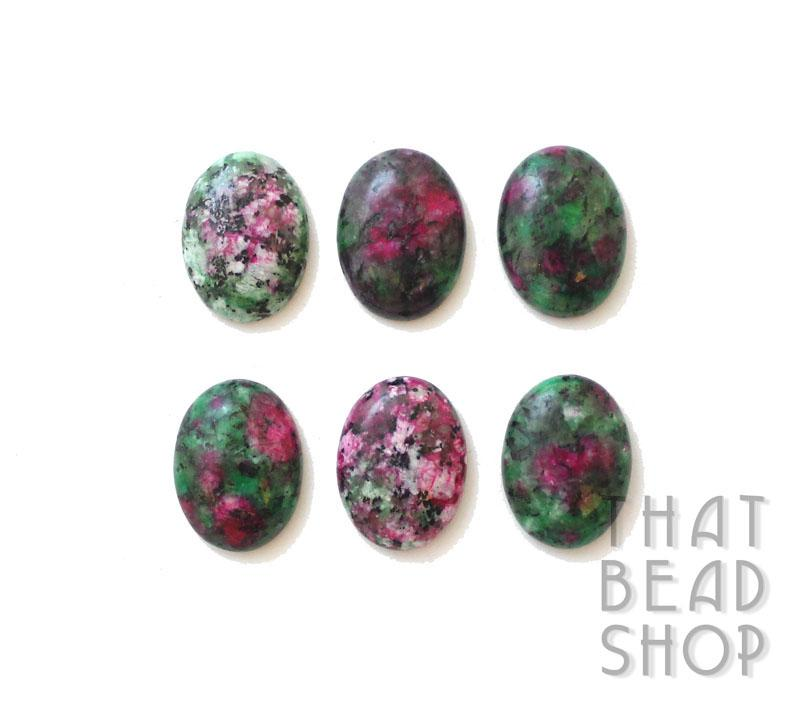 Green and Magenta Dyed Sesame Jasper Oval Cabochon