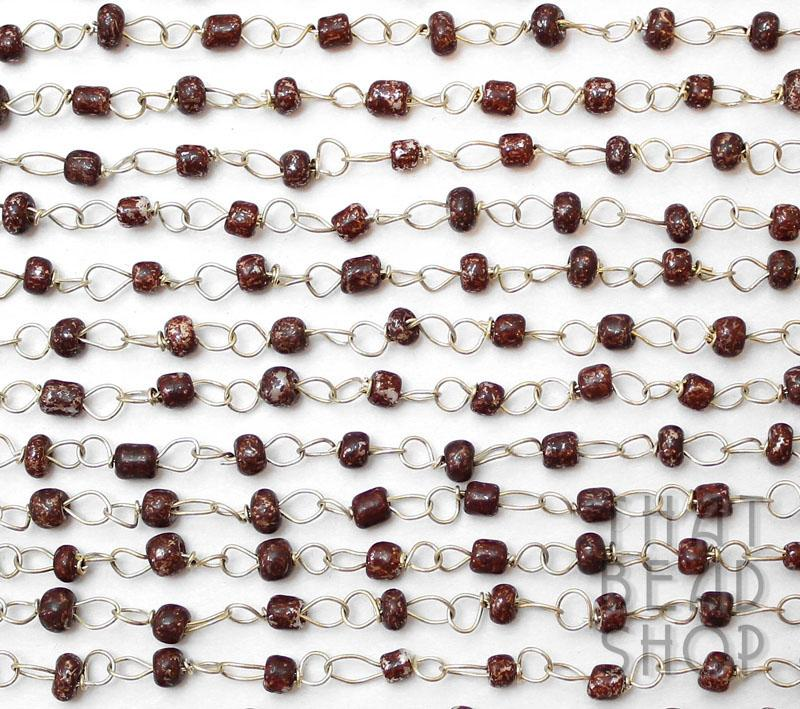 Mottled Coffee Fine Linked Seed Bead Chain