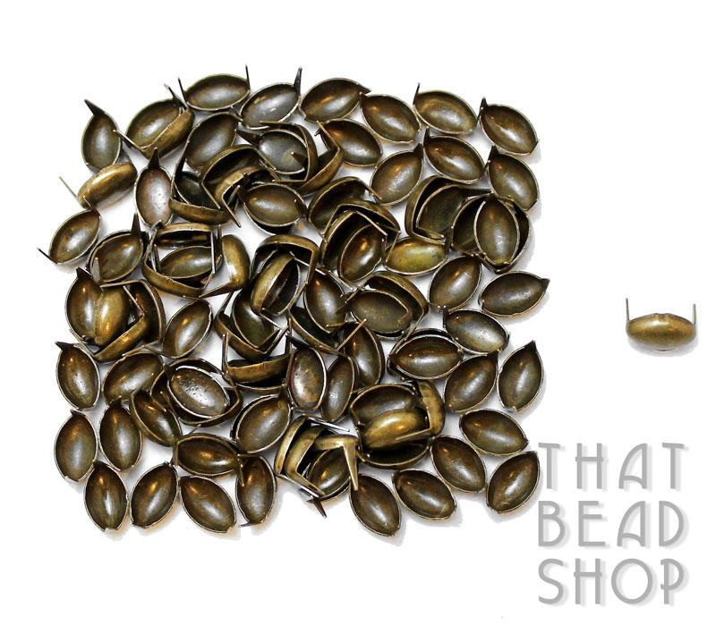 Antique Brass Oval Studs - 8mm x 5mm