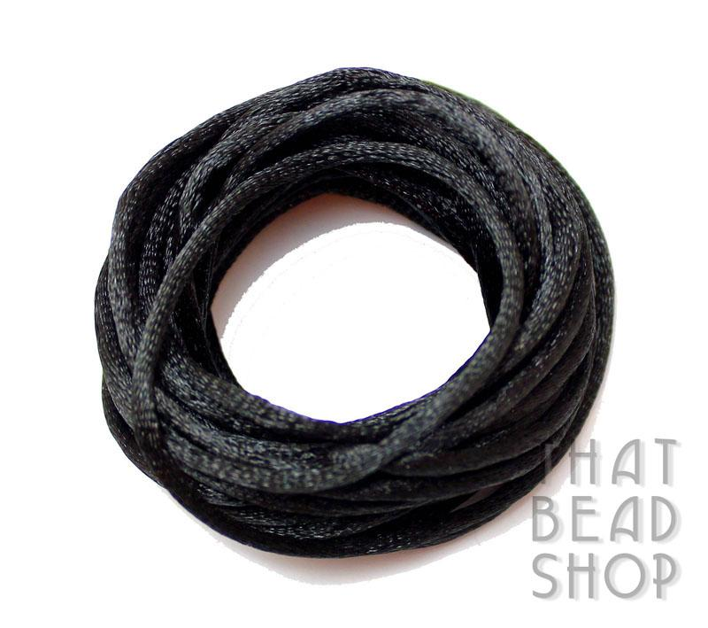 Black 2mm Satin Rattail - 5 yards