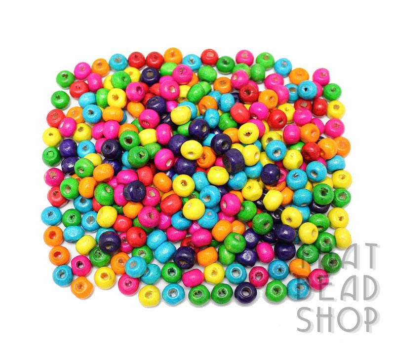 Bright Mix Roundel Wood Beads - 6.5mm x 5mm