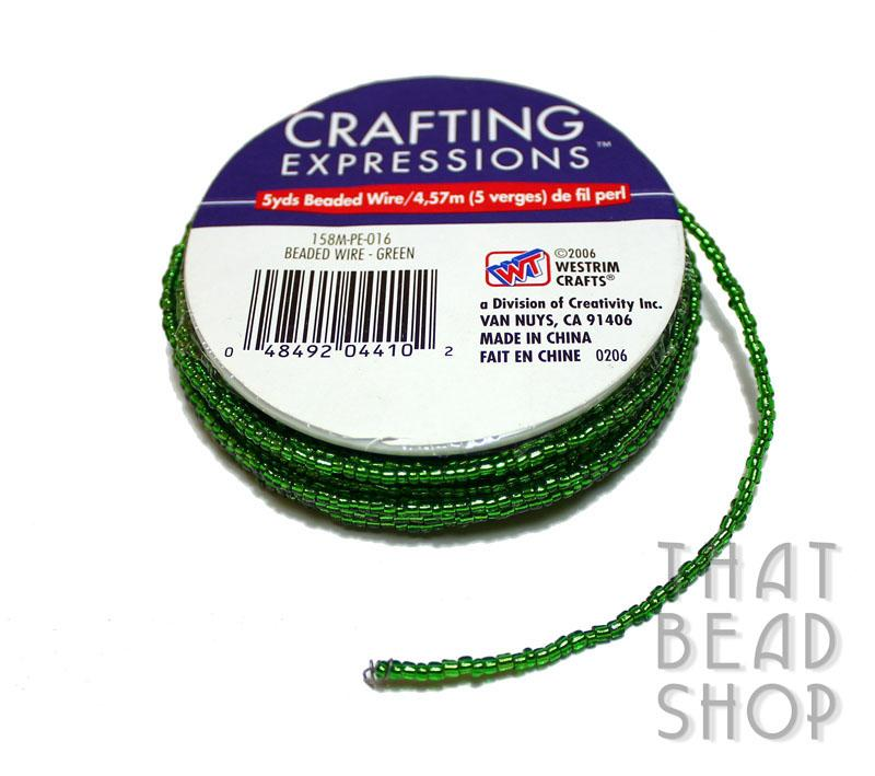 Silver Lined Size 11-0 Beaded Wire - Xmas Green