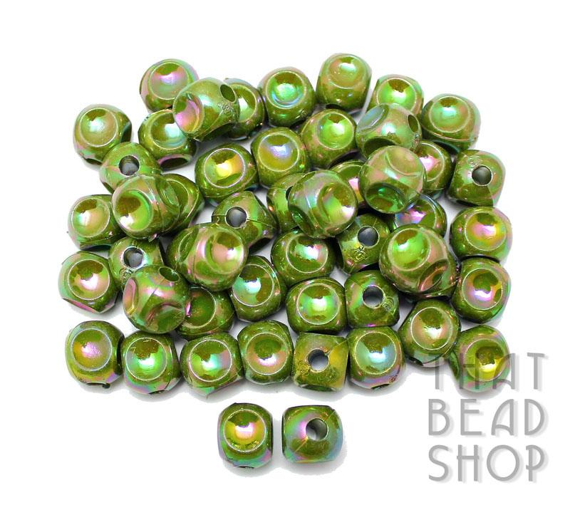 Acrylic Dimpled Cubes - Opaque Olive Rainbow 12mm