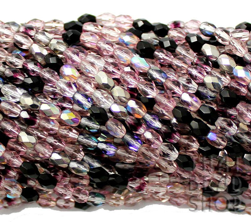 6mm x 4mm Twilight Mix Fire Polished Faceted Oval