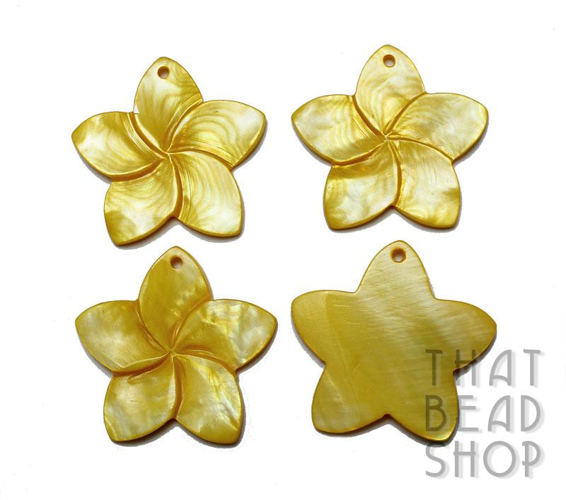 Carved 5 Petal Frangipani Shell Pendant - Yellow