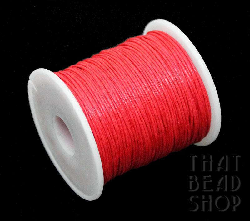 1mm Bright Coral Waxed Cotton Cord Roll - 100 Yards