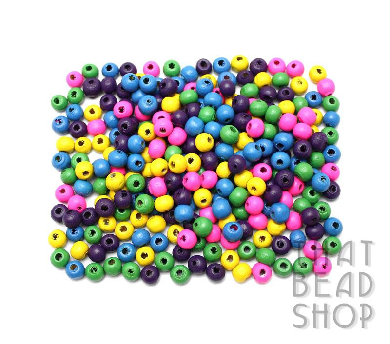Colour Mix Roundel Wood Beads - 7mm