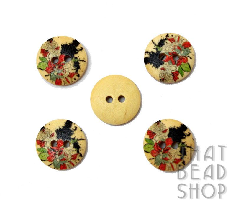 Printed Round Wood Buttons - Floral Splash Basket - CLOSEOUT